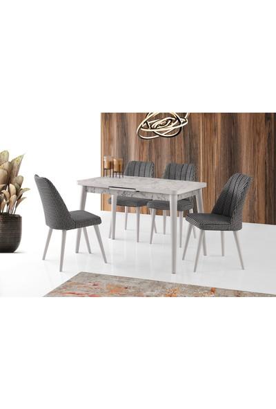Evaç - Silva Beyaz Mermer Masa Takımı Sude Sandalye