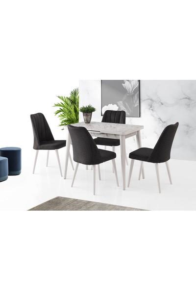 Evaç - Silva Masa Takımı Beyaz Mermer Sude Sandalye