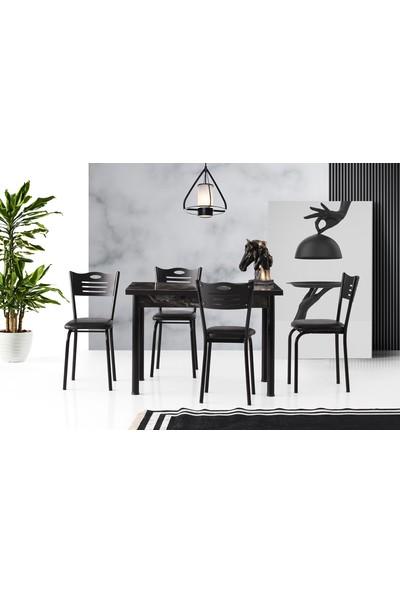 Evaç - Smart Masa Takımı Siyah Mermer Sedef Sandalye