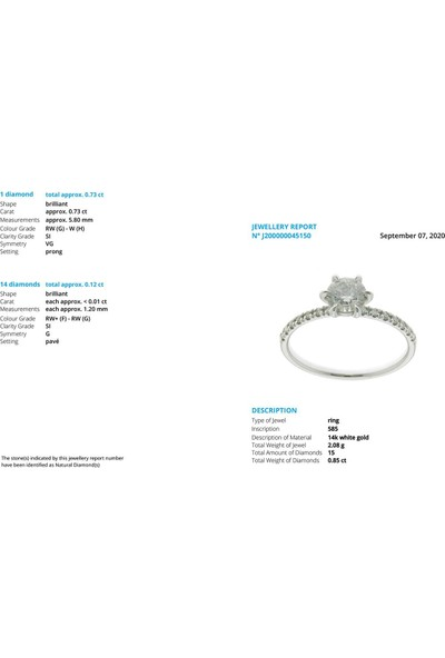 İber Diamond Iber G/0.85 Karat Pırlanta Taşlı Tektaş Yüzük PYZ0721HRD