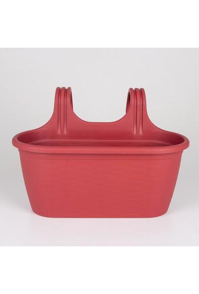 Veramaya 3 Adet Sahra Askılı Kırmızı Balkon Saksı 6,3 Litre No:2