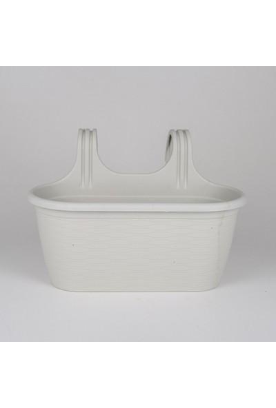 Veramaya 3 Adet Sahra Askılı Beyaz Balkon Saksı 6,3 Litre No:2