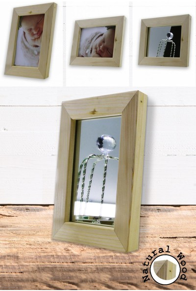 Dekolia Doğal Ahşap Çerçeveli Masa Aynası - Fotoğraf Çerçevesi
