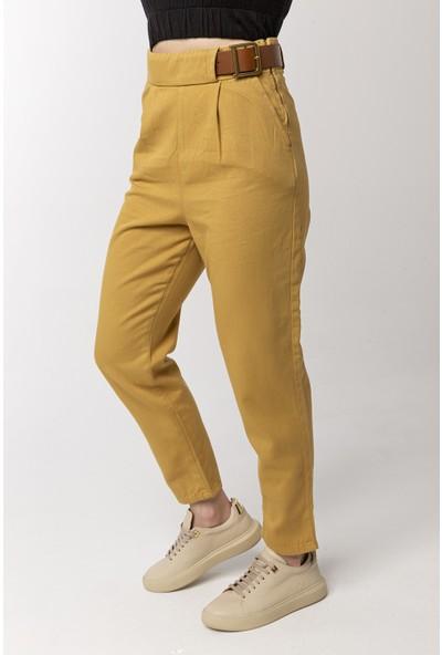 Coral Kemerli Pamuklu Pantolon Camel