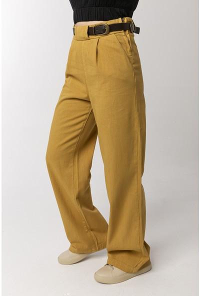 Coral Kemerli Pilili Pamuklu Pantolon Camel