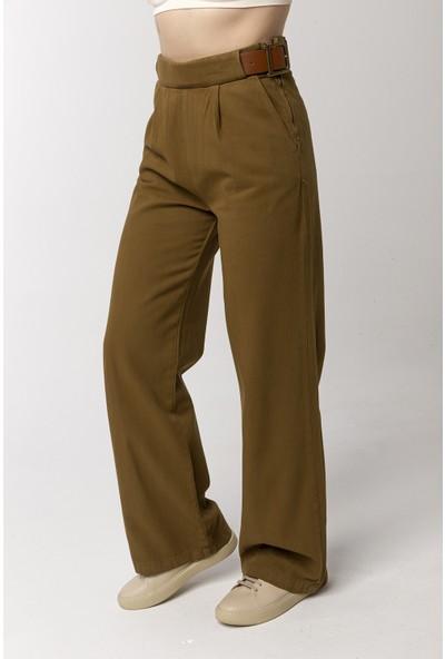 Coral Kemerli Geniş Paça Pantolon Yeşil