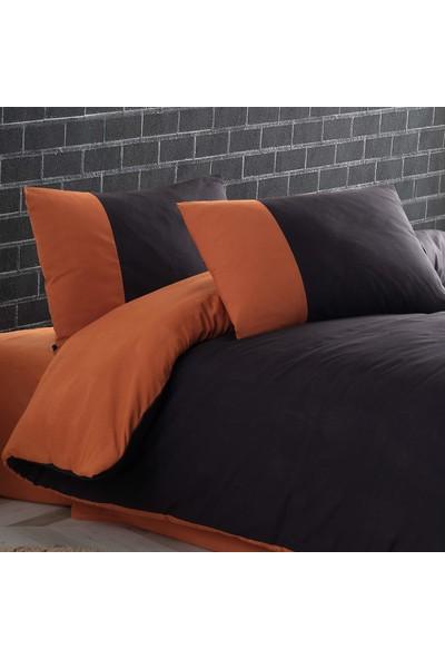 Cotton Touch Plain Series Çift Taraflı Siyah-Bakır Çift Kişilik Nevresim Takımı