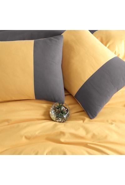 Cotton Touch Plain Series Çift Taraflı Sarı-Antrasit Çift Kişilik Nevresim Takımı
