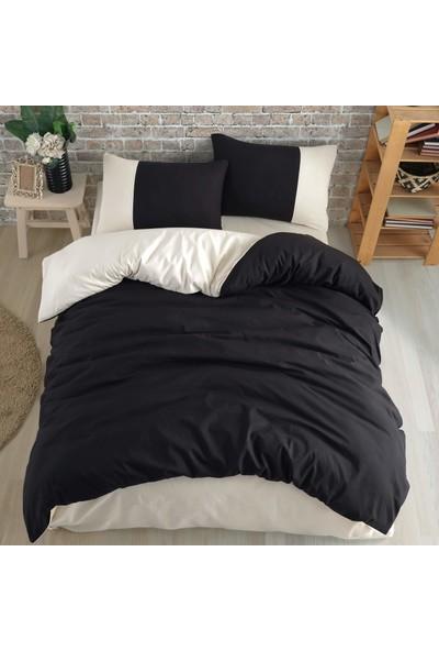 Cotton Touch Plain Series Çift Taraflı Siyah-Krem Çift Kişilik Nevresim Takımı