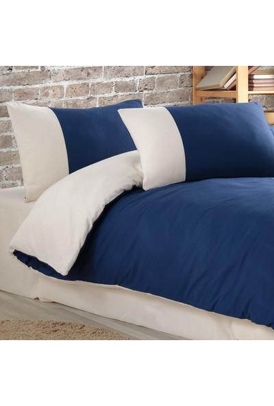 Cotton Touch Plain Series Çift Taraflı Lacivert-Krem Çift Kişilik Nevresim Takımı