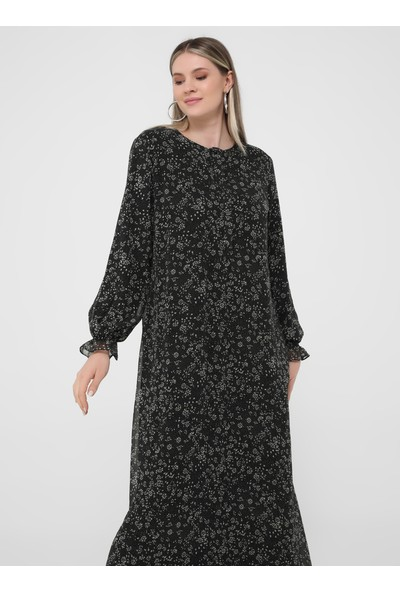 Büyük Beden Desenli Şifon Elbise - Siyah Beyaz - Alia
