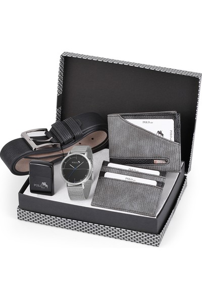 Polo Air Erkek Kol Saati Kemer Cüzdan Çakmak Kartlık Set Kombini PL-0474E4