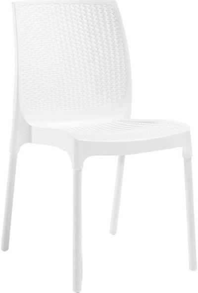 Novussi Rattan Beyaz Masa Takımı 90*150 Camlı Masa 6 Adet Sunny Rattan Sandalye