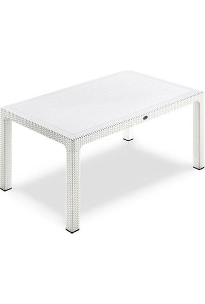 Novussi Classi Rattan Beyaz 90*150 Camlı Masa Bahçe Balkon Masası