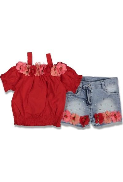 Miss Marine Kız Çocuk Kırmızı Yakası Çiçek Detay Şortlu Takım