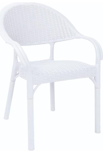 Rattan 6 Adet Capissi Bambu Rattan Kollu Sandalye Koltuk Beyaz