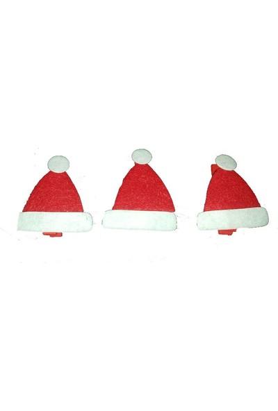 Pandoli Keçe Noel Baba Şapkası Şekilli Ahşap Mandal 3 Adet