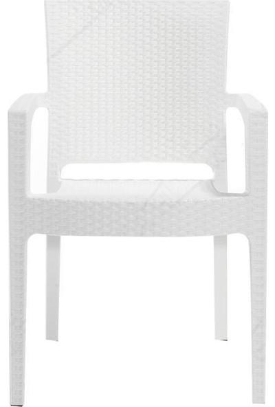 Rattan 6 Adet Capissi Zeugma Rattan Kollu Sandalye Koltuk Beyaz