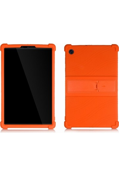 Dybox Lenovo Tab M10 Tablet 2.nesil, X306F Darbe Emici Standlı Silikon Kılıf Turuncu