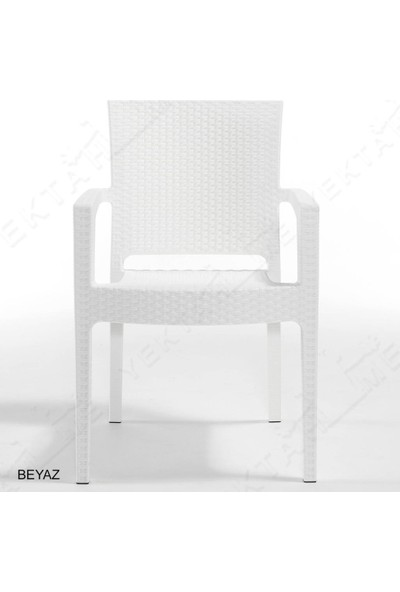 Novussi 6 Adet Novussi Paris Rattan Kollu Sandalye Koltuk Beyaz