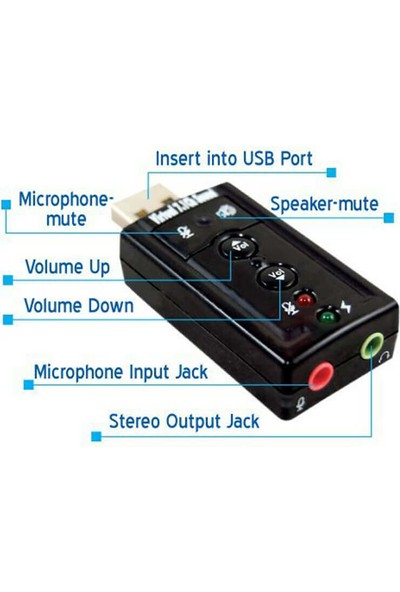 Wozlo 7.1 USB Ses Kartı Harici USB Sound Kart Virtual 3D Çevirici