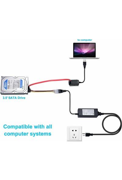 Wozlo USB To 2.5 / 3.5 / 5.25 Sata Ide Çevirici Kablo HDD Hardddisk Kablosu