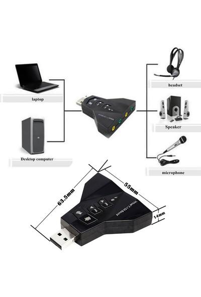 Wozlo 7.1 USB Ses Kartı USB Sound Kart Virtual 3D Çevirici
