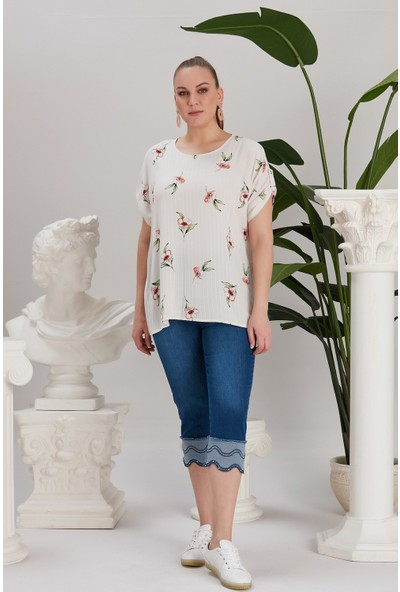 Rmg Kol Detaylı Çiçek Desenli Büyük Beden Beyaz Bluz