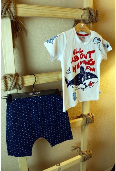 Comix Erkek Bebek Balina Baskılı Şalvar Modeli 2'li Takım %100 Pamuk