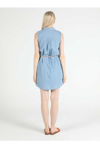 Colin's Regular Fit Açık Indigo Kolsuz Kadın Jean Elbise