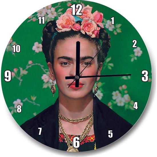 Cakatablo Frida Kahlo Yeşil Zeminde Duvar Saati