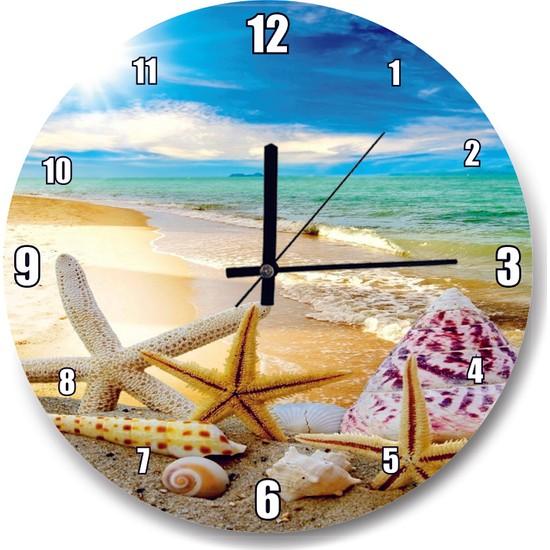 Cakatablo Kumsalda Denizyıldızı ve Deniz Kabukları Duvar Saati