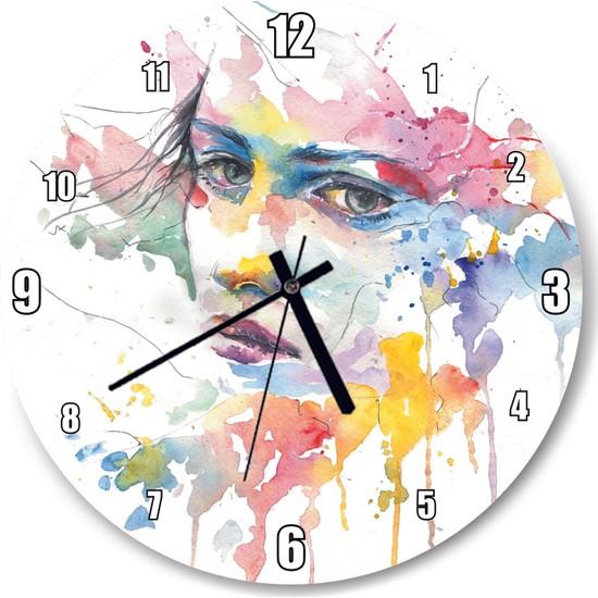 Cakatablo Boyalı Kadın Duvar Saati