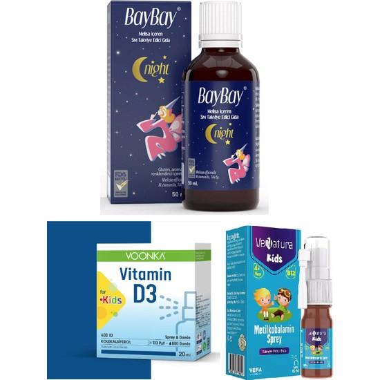 Çocuklar Için Set -Night Damla 50 ml + Voonka D3 Vitamini + Venatura B12 Vitamini
