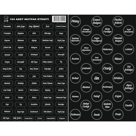 Free Shop 104 Adet Adet Kuruyemiş - Baharat - Bakliyat Kavanoz Etiketi - Sticker