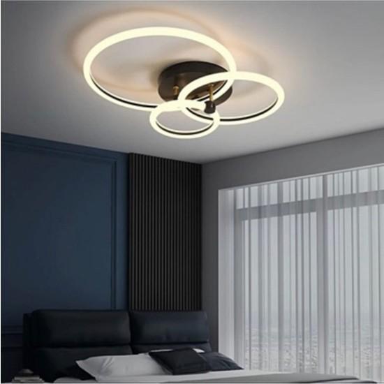 Burenze Modern Plafonyer LED Avize Kademeli 3 Renk Işık Koyu Kahve BURENZE921