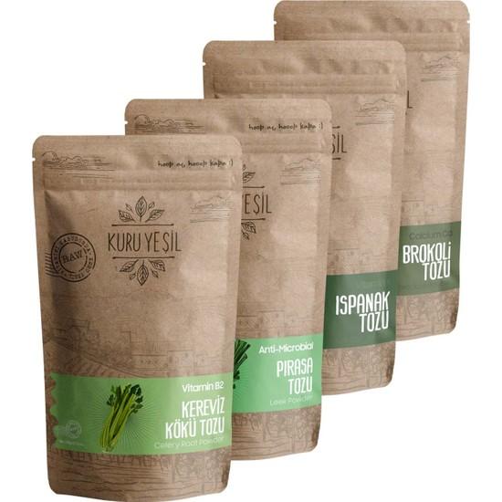 Kuru Yeşil Yeşil Sebzelerin Gücü (Ispanak Tozu - Brokoli Tozu - Pırasa Tozu - Kök Kereviz Tozu)