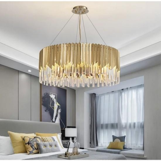 Burenze Luxury Modern Kristal Taşlı Sarkıt Avize Gold Sarı 60 cm BURENZE814