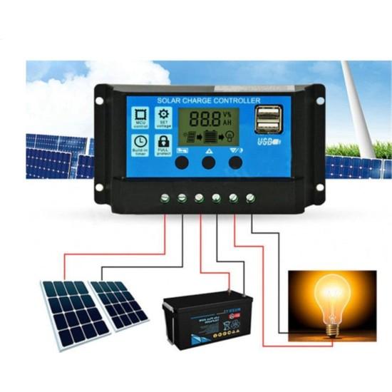 Pwm 30A Güneş Solar Paneli Akü Şarj Kontrol Cihazı 12V-24V Kontrol Cihazı Akü Şarj Regülatör