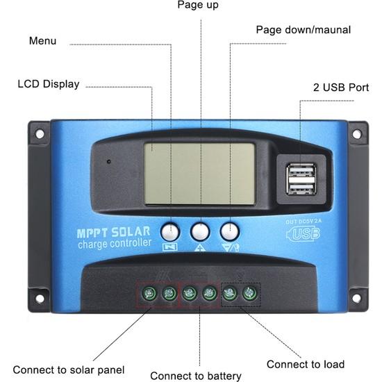 100A Mppt Solar Kontrol Cihazı 12V-24V Solar Akü Şarj Kontrol Cihazı Regülatörü