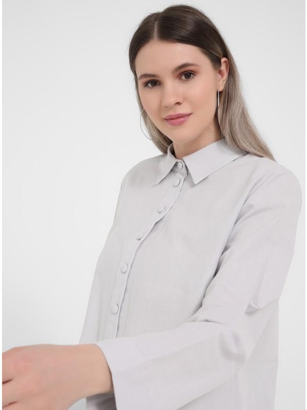 Büyük Beden Doğal Kumaşlı Gömlek Tunik - Soft Lila - Alia