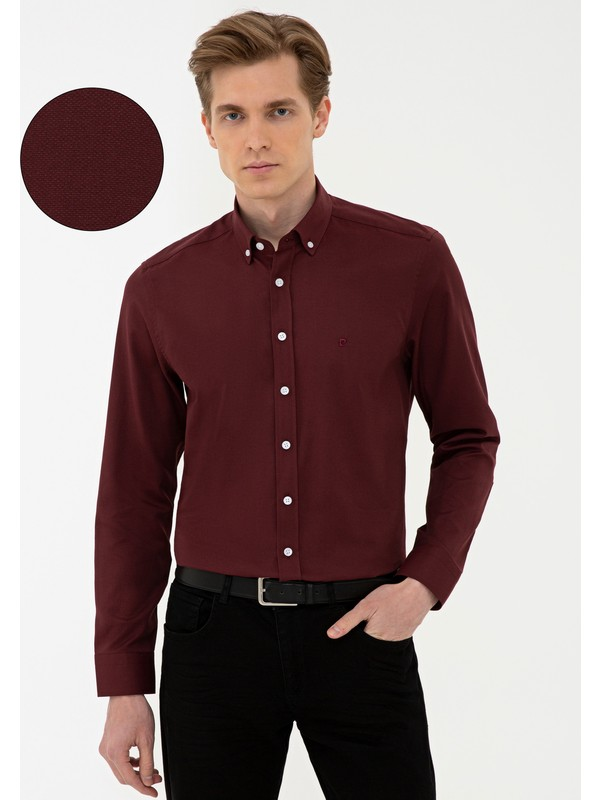 Pierre Cardin Bordo Slim Fit Oxford Gömlek 50240386-VR014