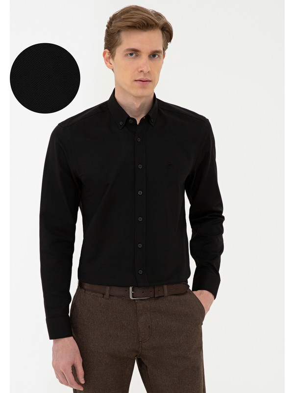 Pierre Cardin Siyah Slim Fit Oxford Gömlek 50240386-VR046