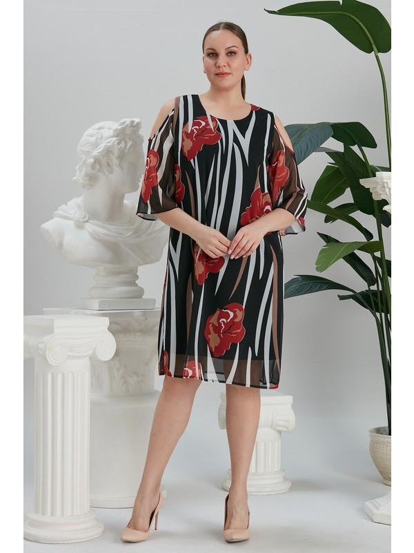 Rmg Çiçek Desenli Omuz Detaylı Büyük Beden Siyah Şifon Elbise
