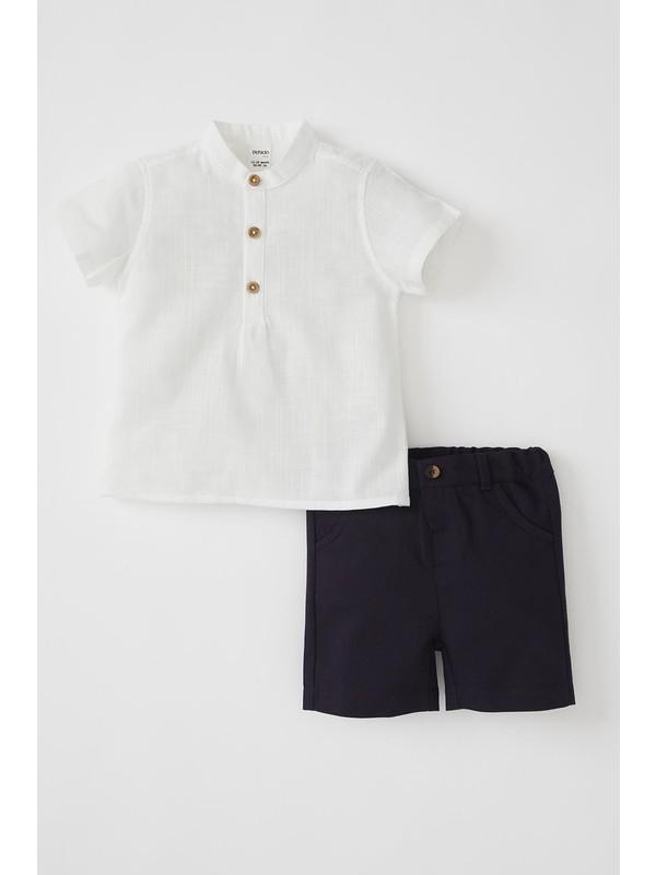 DeFacto Erkek Bebek Kısa Gömlek ve Şort Takımı