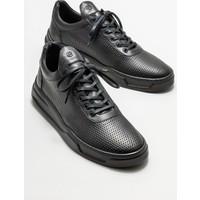 Elle Siyah Deri Erkek Günlük Ayakkabı