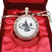 Denacci Osmanlı Tuğra Kapaklı Kişiye Özel Krom Köstekli Saat Cep Saati