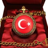 Denacci Türk Bayrağı Kapaklı Kişiye Özel Vintage Köstekli Cep Saati