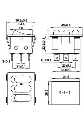 Motorobit Kcd3 Üçlü Işıklı On-Off Anahtar 9 Pin