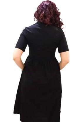 Newton Siyah Kısa Kollu Gömlek Elbise